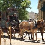 Mule-drawn stagecoach