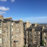 The beautiful rooftop view from our hotel room of New Town Edinburgh