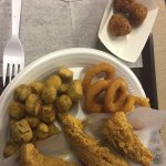 Perch, okra, hush puppies and onion rings
