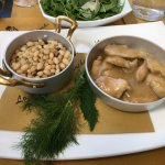 Traditional fare, with Ribollita, served in delightful pans.