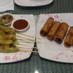 chicken satay and egg rolls