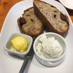 Fig anise bread, butter and goat cheese