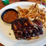 Ribs, fries, and baked beans