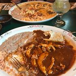 Chicken Mole on front and Pollo Chipolte in the background