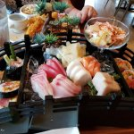 Sashimi deluxe, sumo and yellowtail rolls
