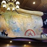 Giant map above the entrance to the seating area