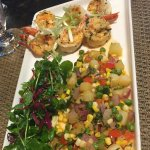 Shrimp feature with succotash
