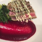 Ahi tuna appetizer with beet flourish
