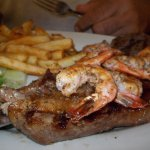 My husband got a great steak and shrimp, cooked to perfection!
