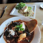 "Lazy Man's"" Cioppino soup and Halibut"