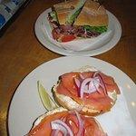 Salmon cream cheese bagel and Salami focaccia