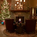 Lobby fireplace in December is very inviting