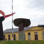 Sculpture at Museum Entrance