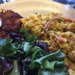 Salmon scramble w/potato patties - delic!