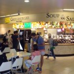 Cheeseburger Factory counter with is soup & salad bar in the Makai Market food court