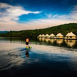 Paddle boarding at 4 Rivers Floating Lodge