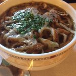 Beef consomme with shredded pancake