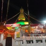 During the festival time, lighting over the stupa in the evening