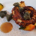 Polpo e pesche (octopus & peach) at Is Benas Country Lodge