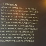 Napa Wood Fired Pizza - mission statement inside front door