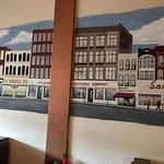 Tom's Diner - very cool mural of town on walls