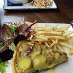 The potato, spinach and black dub pie, fries and salad