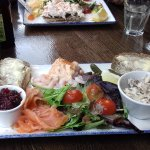 Front, the selection of fish; back - an open salmon sandwich