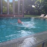 Early morning swim in the fabulous outdoor pool at Bailiffscourt Health Spa - warner than the se