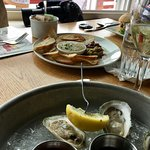 Wellfleet Oysters and Chicken Liver Mouse Pate at The Red In in Provincetwon, MA