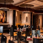 The African look and feel warm decor , Indoor dining