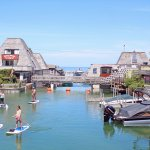 Leland Paddleboard Tour with Fishtown backdrop