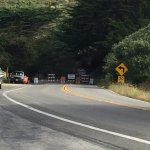 PCH is closed just a few yards north of the Ragged Point Inn.