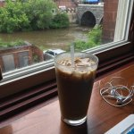 Iced Maple Latte looking out over the river
