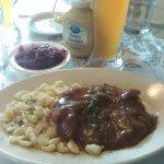 Jagerschnitzel with mushroom sauce, Spaetzle, Red Cabbage and a Hefe Weizen!