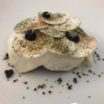 Mozarella truffle draped over beef