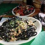 Black Pasta Tinta de calamari with ground squid!!!!!! A must in Little Italy, Boston!