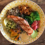 Quinoa power bowl with grilled salmon