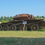 British Army tank that had been dug up form the fields.