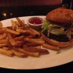 Cheeseburger (without cheese) on gluten free bun with fries