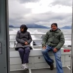 Back of boat as we traveled quickly to get to the whale sightings.
