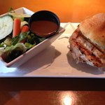 Savory Chicken Burger with gluten free bun and a side salad
