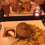 hamburger, fries and beer
