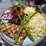 Grilled Lake Trout, salad and pasta
