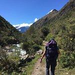 hiking the Inca trail coming into Wayabamba