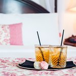 A Welcome drink for our guests.  Ice tea and macarons