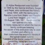 History of El Aljjibe in front of the restaurant
