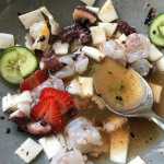 Coconut water and skin octopus/shrimp ceviche
