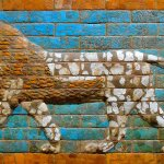 Oriental Institute - Lion mosaic from the Fortress of Sargon, Assyria