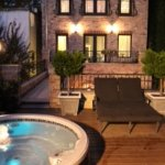 Sundeck and our outdoor hot tub