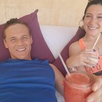Lounging in our cabana on the private beach.